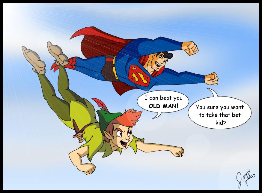 peter_pan_vs__superman_by_spiceddemon-d86lt50